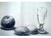 (素描)水果与玻璃杯